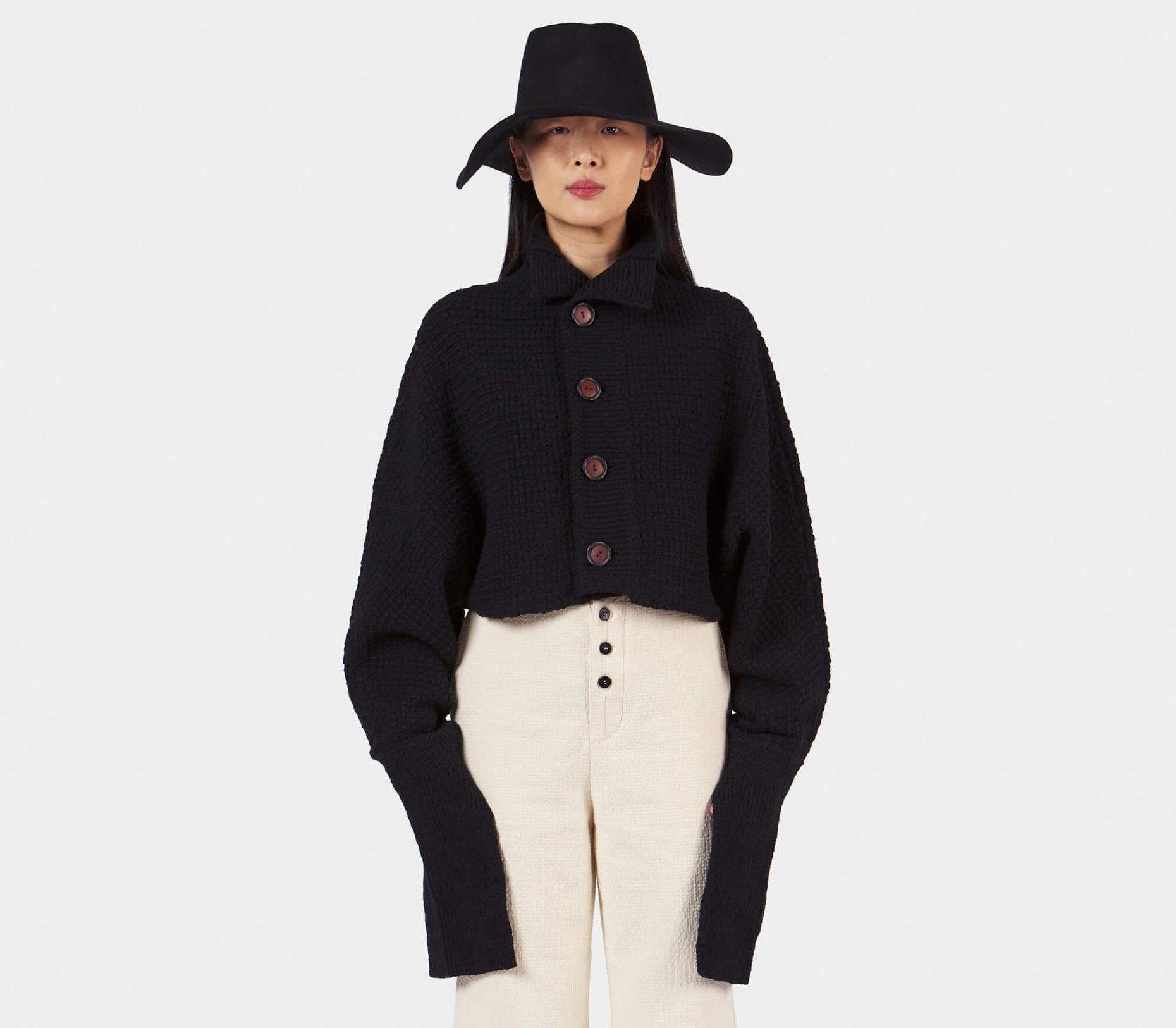 Taiga Takahashi Black Cropped Bolero Cardigan