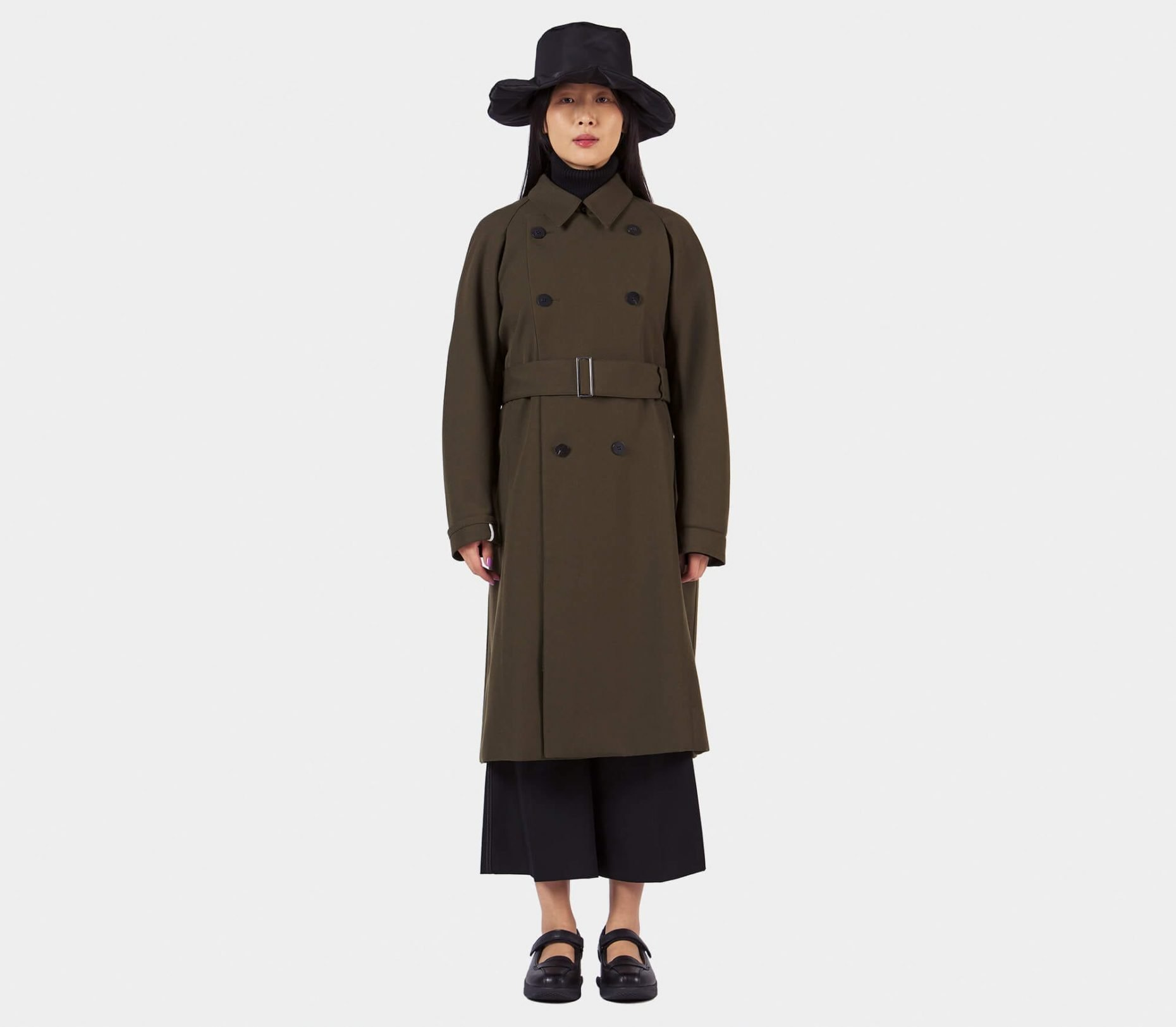 Overcoat Trench With Two Way Collar