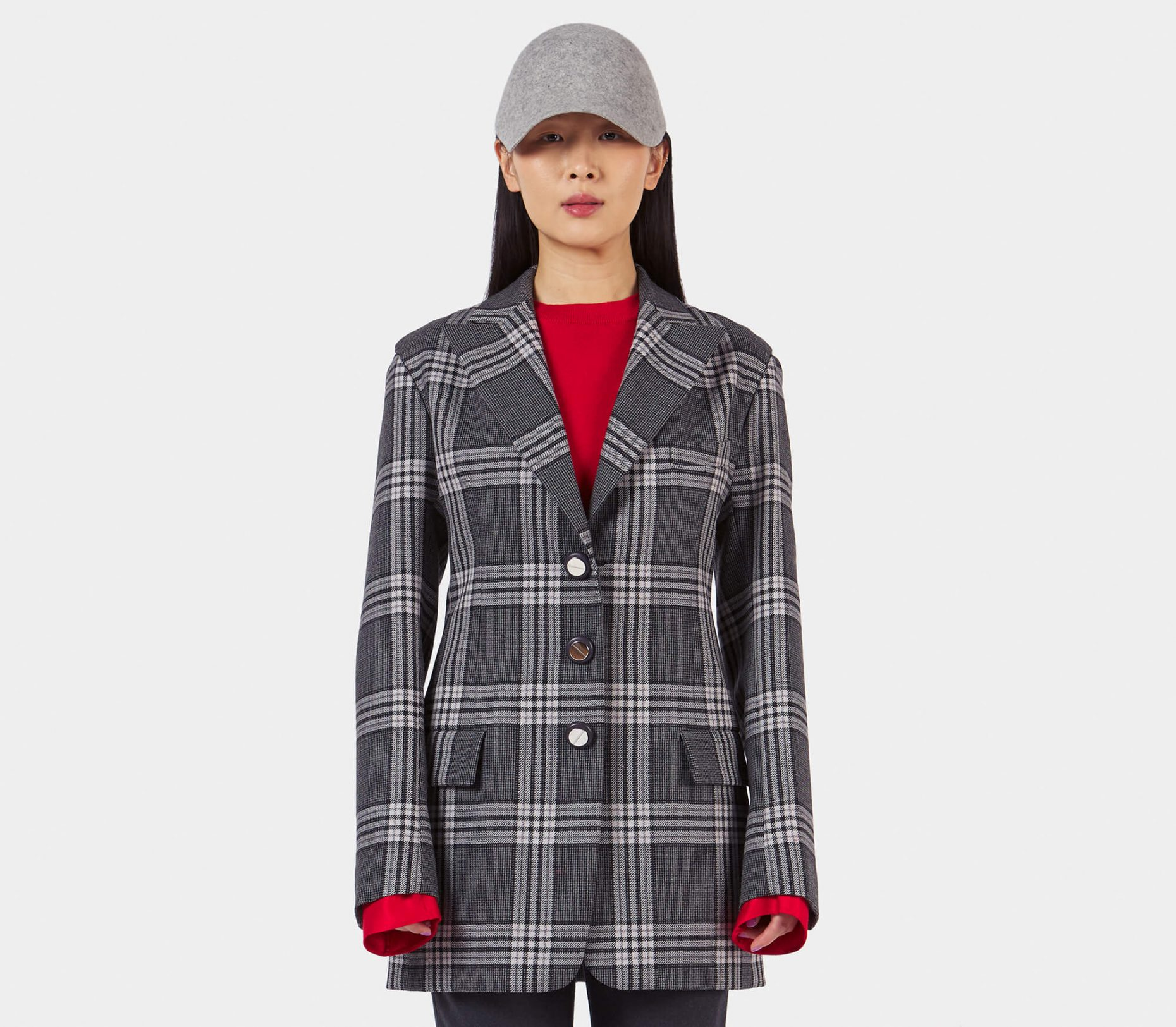 Marni Single Breasted Checkered Wool Jacket