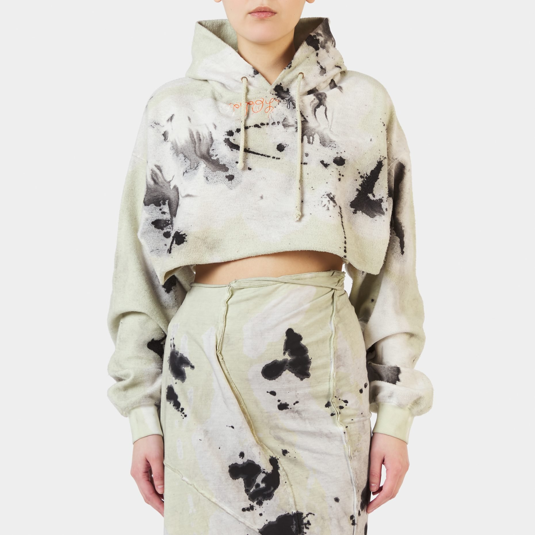 Ottolinger Ink Print Cropped Hoodie