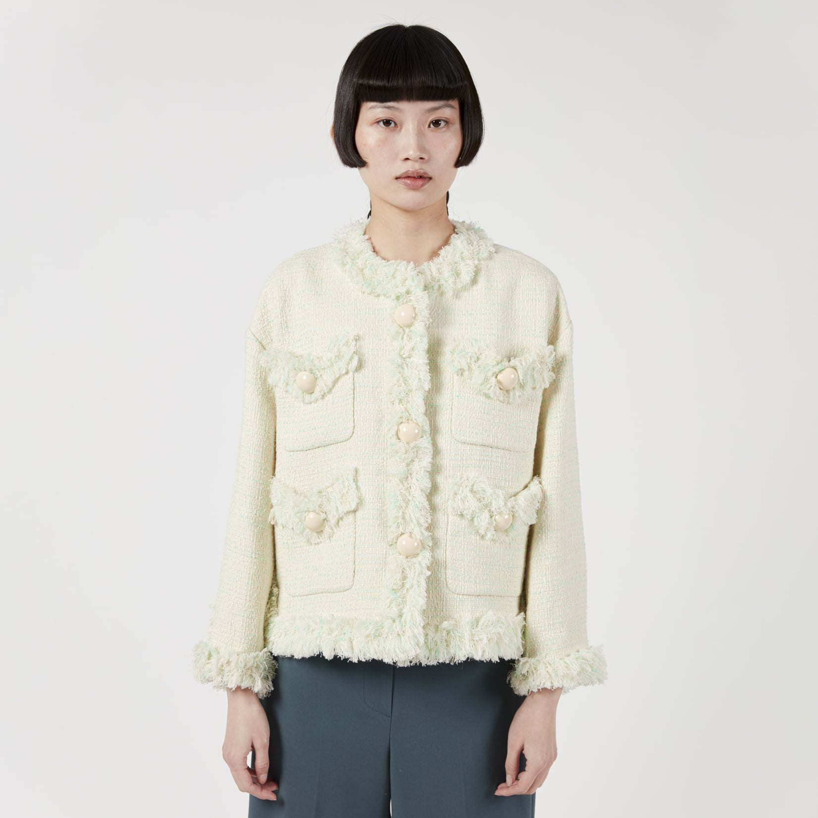 Pushbutton Bubble Button Tweed Jacket