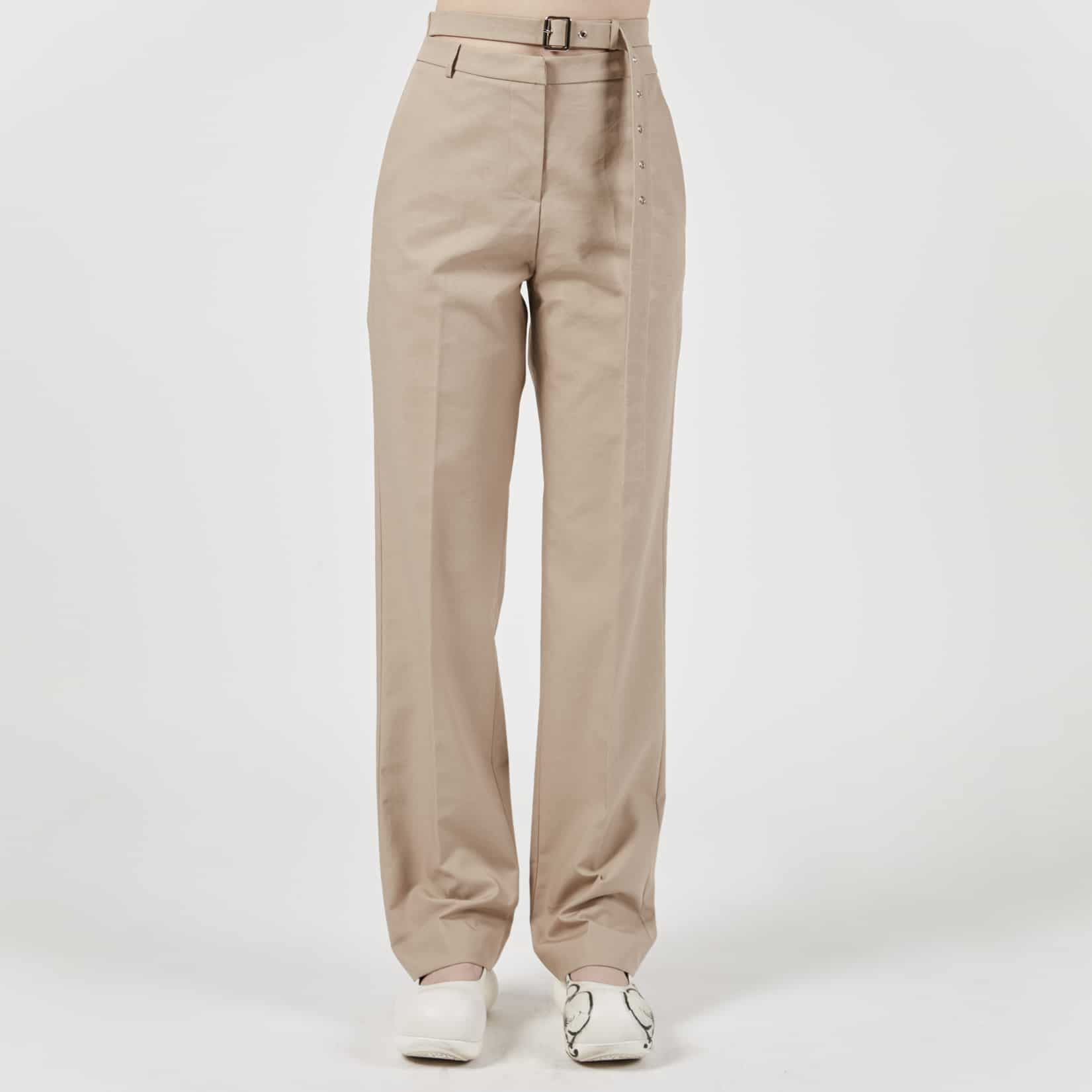 Pushbutton High Waist Belted Trousers