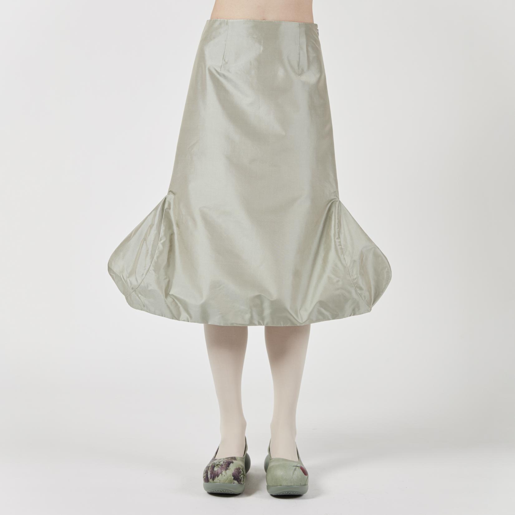 VeniceW Thai Silk Dino Egg Midi Skirt