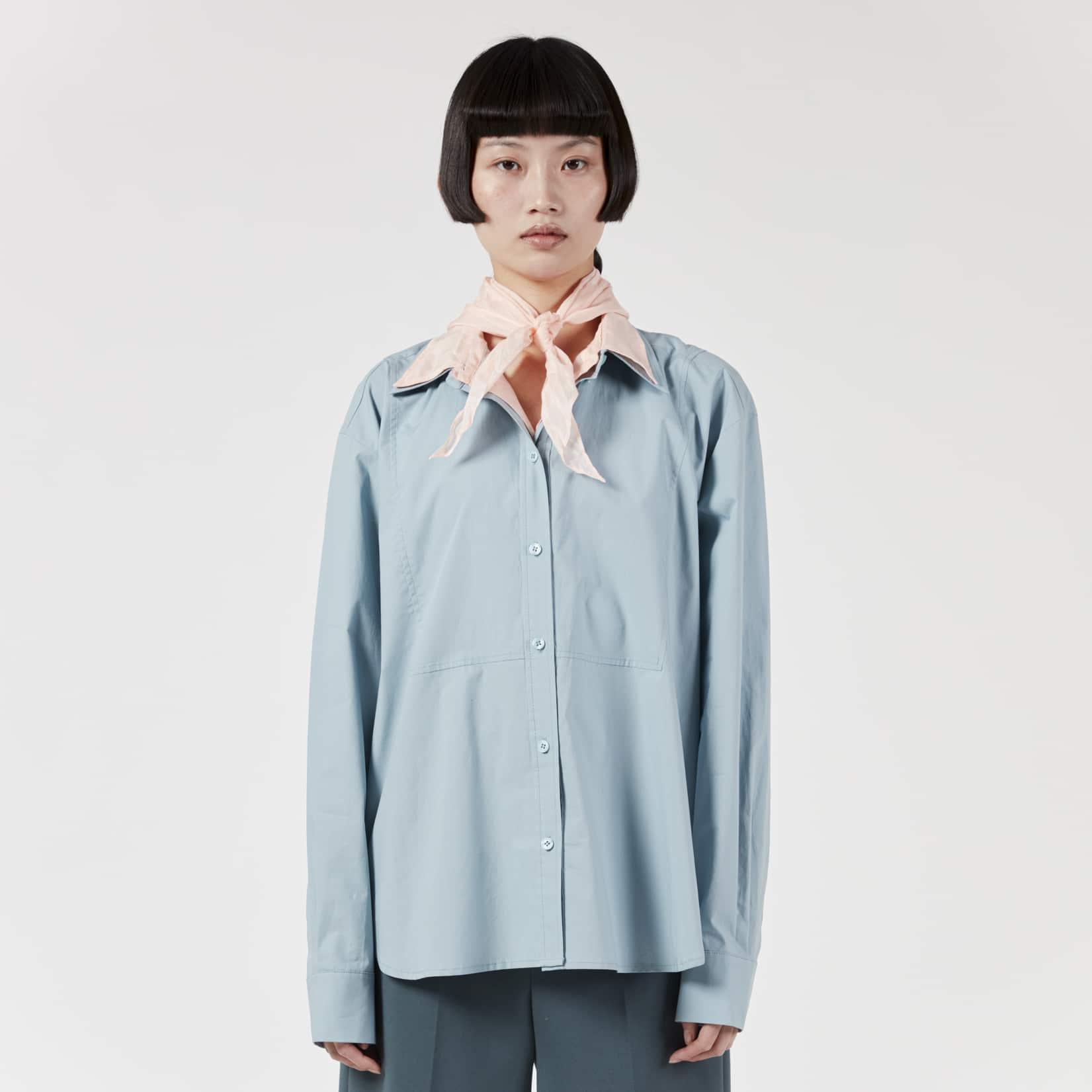 Pushbutton Layered Collar Shirt