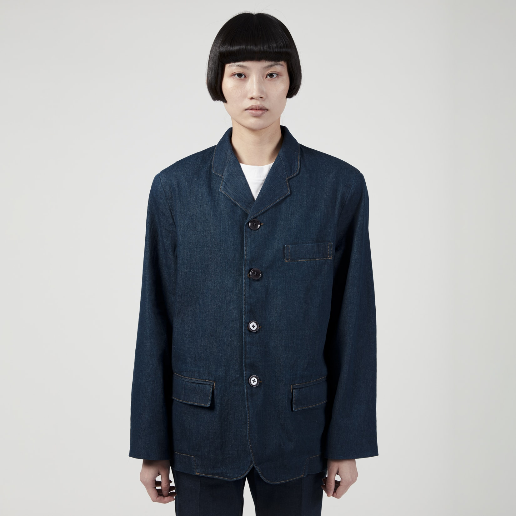 Lemaire Denim Boxy Single Breasted Jacket