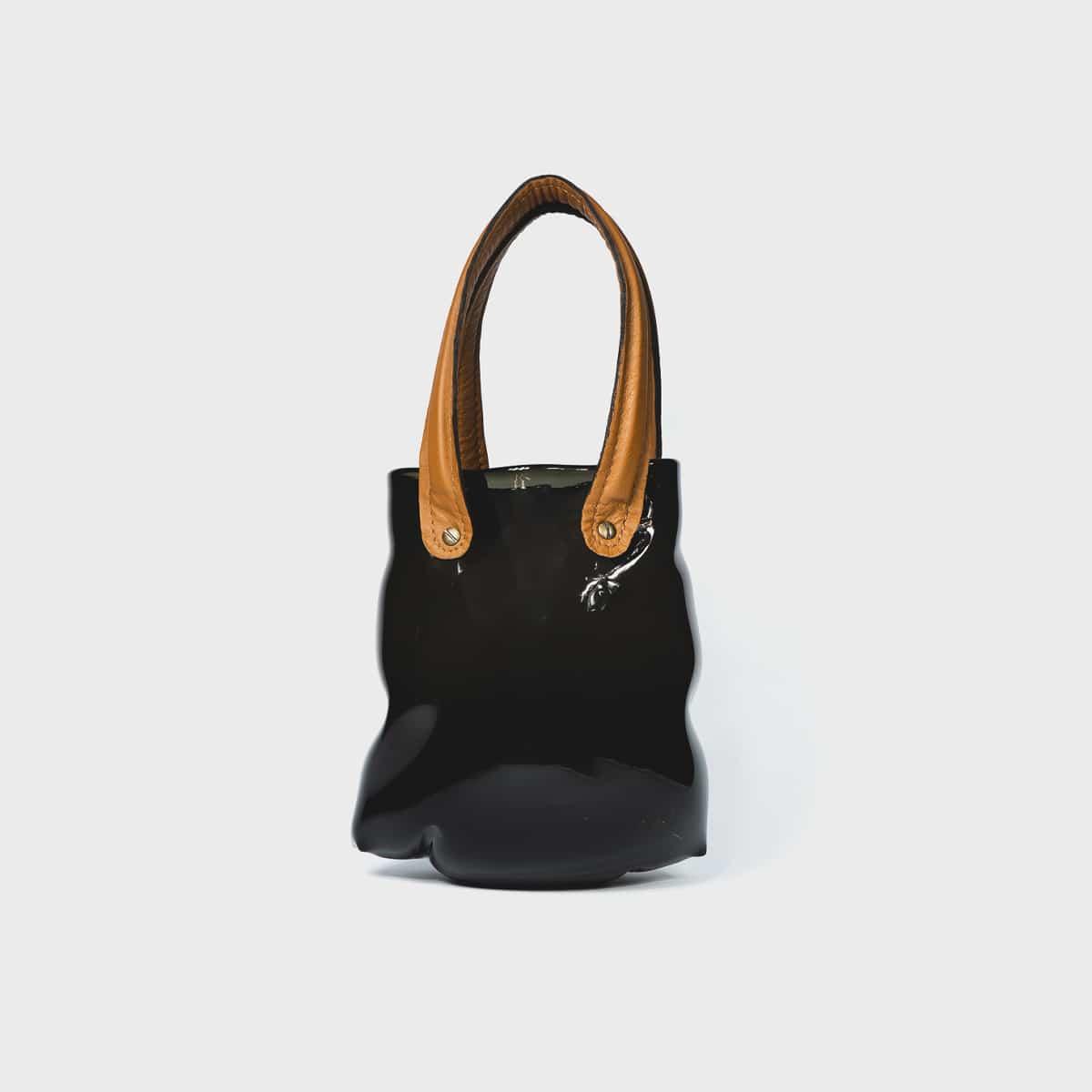 Anne Donzé Et Vincent Chagnon Glass Bag Grey With Tan Handles